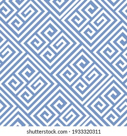 Seamless geometric pattern. Line pattern in white and blue colour. Classy maze design. Trendy simple swirl pattern. Fashionable design for textiles and interiors.