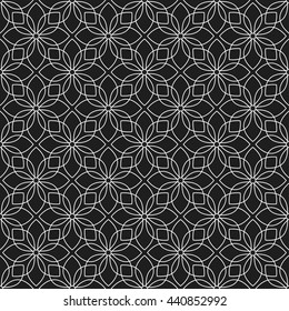 Seamless geometric pattern of Lotus flower. Abstract Black and White Background. Vector Illustration.