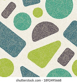 Seamless geometric pattern made in pointillism style. Scandinavian ornament for home decor, textiles, carpet, rug. Bohemian patchwork ornament. Vector illustration.