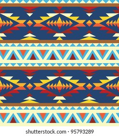 Seamless geometric pattern in native american style