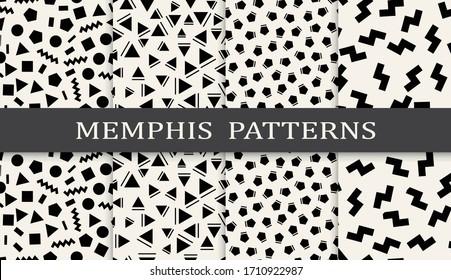 Seamless geometric pattern print set. Abstract background pattern design. Vector illustration.