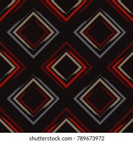 Seamless geometric pattern. Pattern of quadrilaterals. Brushwork. Textile rapport.
