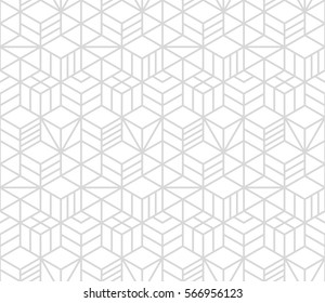 Seamless geometric pattern. Repeating image. Vector abstract background. Modern texture. Grey and white colors. Neutral fond. EPS 8. Necker cube.