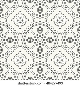 Seamless geometric pattern, repeating texture. Seamless line background. Contemporary graphic design, ethnic arabic, indian, turkish monochrome ornament.