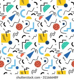 Seamless geometric pattern in retro 80s style, memphis