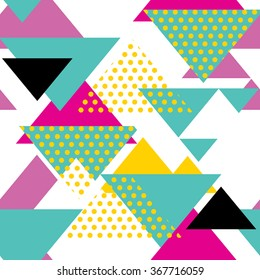 Seamless geometric pattern in retro 80s style. Pop art triangles pattern.