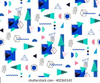 Seamless geometric pattern in retro 80's. Bright seamless triangles, circles, cubes for the cover, fabric, fashion fabric. Memphis style.