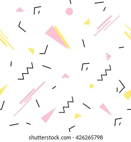 Seamless geometric pattern in retro 80s  memphis style. Yellow pink triangles, lines, circles on white background pattern.