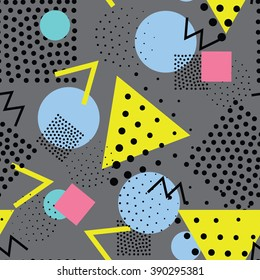 Seamless geometric pattern in retro, memphis 80s style