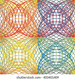 Seamless geometric pattern of rotated circles in colors of visible spectrum