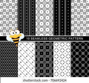 Seamless geometric pattern set, unique abstract trendy modern shapes, minimalistic style.