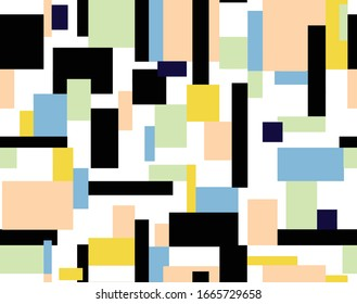 Seamless geometric pattern, simple lines and shapes. Repeated colorfull squares design. Pattern for fashion and interior design. Print design in yellowish colors .
