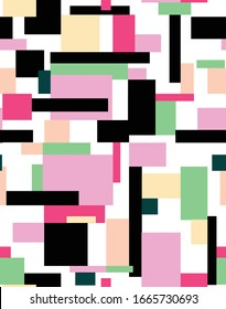 Seamless geometric pattern, simple lines and shapes. Repeated colorfull squares design. Pattern for fashion and interior design. Print design in pink, green, yellow and black colors.
