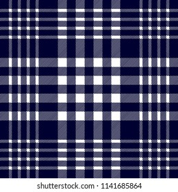 Seamless geometric pattern with small-scale checkers and stripes. White on dark blue. Hipster textile design collection.