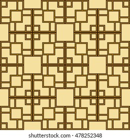 seamless geometric pattern of square cells. yellow, gold. vector illustration. for design, wallpaper, printing
