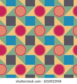 seamless geometric pattern with squares, circles and stars in alterating colors