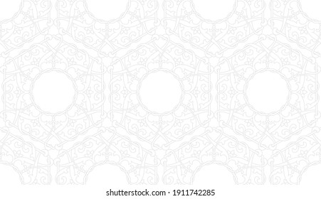 Seamless geometric pattern with stars and stylized flowers on white background. Monochrome vector abstract floral design. Decorative lattice in Arabic style. Ornament for textile, fabric and wrapping.