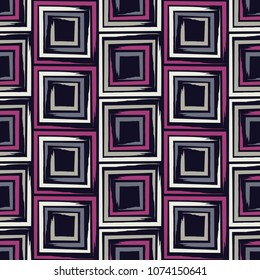 Seamless geometric pattern. The texture of the squares. Brushwork. Scribble texture. Textile rapport.