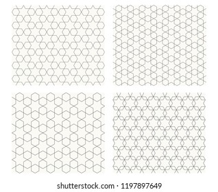 Seamless geometric pattern with thin line, vector