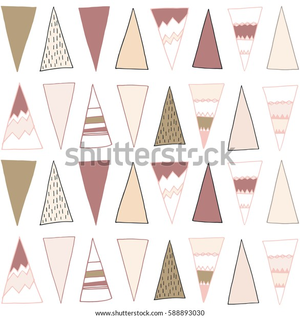 Seamless geometric pattern with tribal hand drawn triangles. Vector background in pink and brown. Ethnic navajo design.