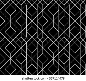 Seamless geometric pattern. Vector abstract classical background in black and white color