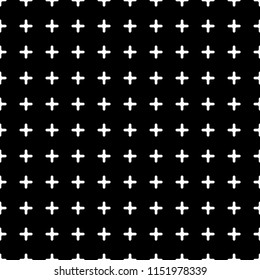 Seamless geometric pattern vector. Design symbol plus white black. Design print for texture, wallpaper, fabric, metal, textile, background. Set 2