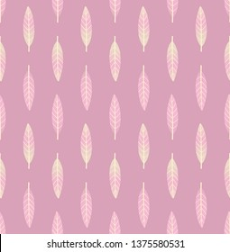 Seamless geometric pattern with vertical rows of small light pink and beige leaves on pastel mauve pink background. Repeat symmetrical botanical pattern. Vector illustration.