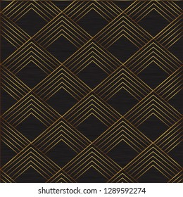 Seamless geometric pattern with vintage elements . Golden Art Deco background