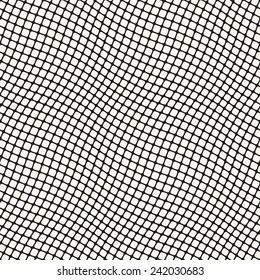 Seamless geometric pattern. Wavy stripes of smooth squares. Vector repeating texture with curvature effect
