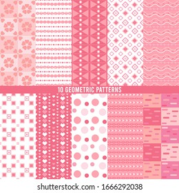 Seamless geometric patterns set collection of 10 Pink Color, Endless texture can be used for sweet romantic wallpaper or wrapping paper.