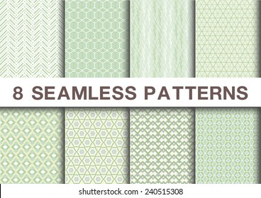 Seamless geometric patterns set collections of 8 green tones  ,vector illustration