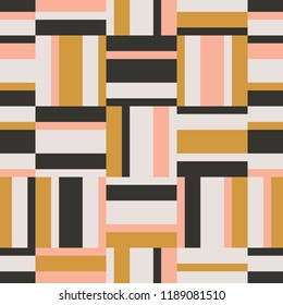 seamless geometric retro pattern with horizontal and vertical stripes