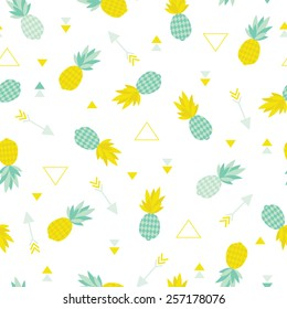 Seamless geometric summer pineapple cute tropical fruit theme illustration arrow background pattern in vector