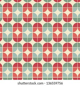 Seamless geometric tiles pattern in vintage style, vector abstract background.