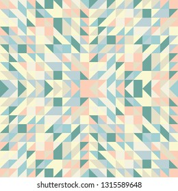 Seamless geometric triangle pattern. Abstract retro geometric background. Tiled wallpaper surface. The texture of the mosaic is suitable for prints, poster design, textiles, T-shirts. Vector