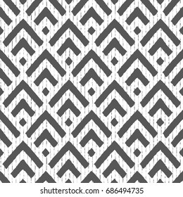 Seamless geometric vector background arrows with lines.Modern stylish texture.White and black