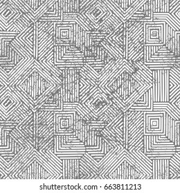 Seamless geometric vintage print. Grunge texture. Gray and white colors. Patchwork ornament. Vector illustration.