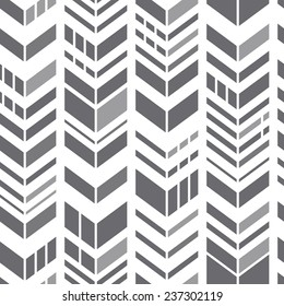 Seamless geometric zigzag pattern. Gray chevrons on white. Modern vector background