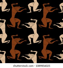 Seamless geometrical abstract pattern with silhouettes of ancient Greek monster bull man Minotaur.
