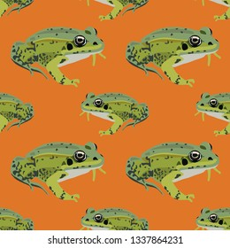 Seamless geometrical animal pattern with frogs. Flat cartoon style.