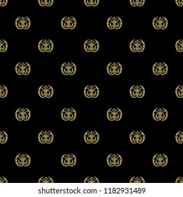 Seamless geometrical floral pattern with stylized silhouettes of thistle plant. Vintage style. Based on retro Art Nouveau or Art Deco style motif. Gold silhouettes on black background.