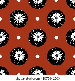 Seamless geometrical floral pattern with top view Lopophora Peyote cactus and abstract polka dots. Black and white silhouettes on red background.