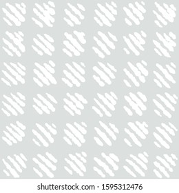 Seamless  geometrical hand drawn pattern with simple stitched squares motif. Subtle light gray and white. Monochromatic texture. Imperfect feel.