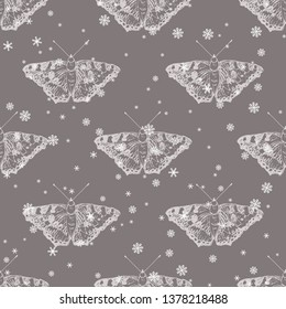 Seamless geometrical monochrome animal pattern with small tortoiseshell butterflies (Aglais urticae) and snowflakes.