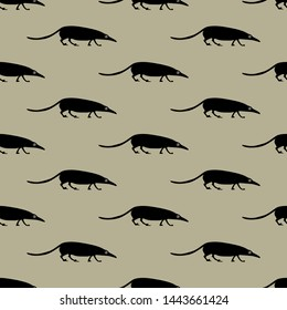 Seamless geometrical monochrome animal pattern with silhouettes of stylized shrew or rat. Ancient Egyptian motif.