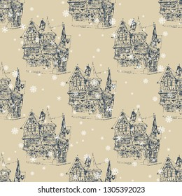 Seamless geometrical monochrome pattern with ancient German timber frame houses and snowflakes. Hand drawn art.