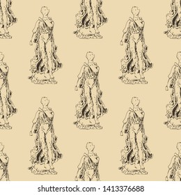 Seamless geometrical monochrome pattern with hand drawn silhouettes of ancient Greek goddess Nike.