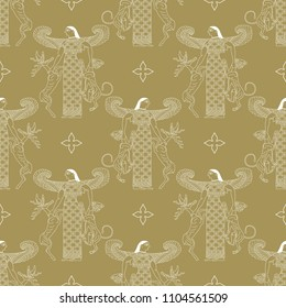 Seamless geometrical pattern with linear silhouettes of ancient Greek goddess Artemis Potnia Theron holding two animals and abstract crosses. Ethnic style. Based on antique vase painting image.
