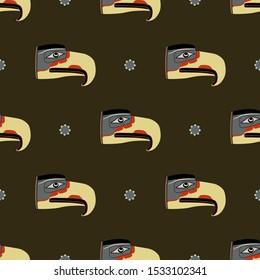 Seamless geometrical pattern with Native American animal motifs. Mythic Thunderbird of Kwakiutl Indians from Canada.