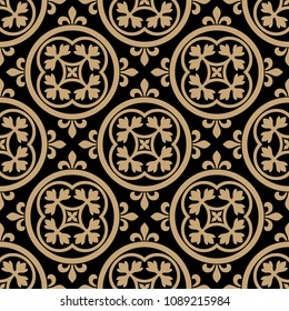 Seamless geometrical pattern with ornate floral mandalas. Based on ancient Romanesque or Gothic motif.
